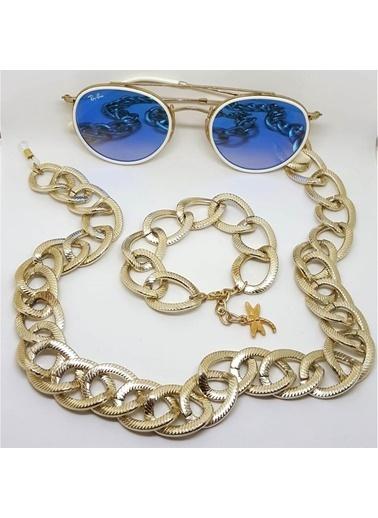 Quzucuk Kids Paris Soft Gold Büyük Halka Kalın Gözlük Zinciri Ve Bileklik Seti Altın